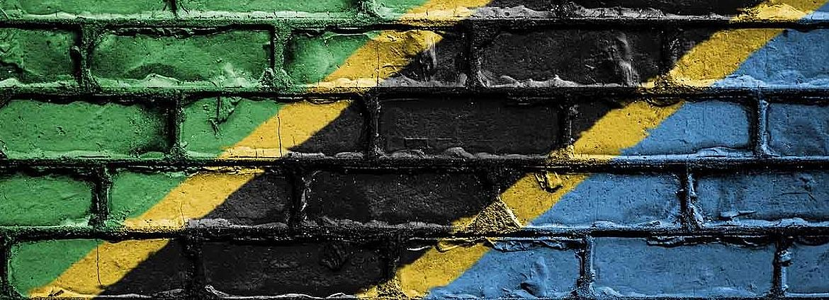 Flagg of Tanzania is sprayed on a wall
